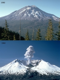 Mount St Helens before and after its eruption