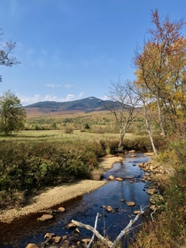 Mount Whiteface dressed in fall foliage from the banks of the Whiteface River