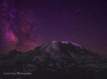 Mountain Galaxy Mt Fremont Fire Lookout View of Mt Rainier Composite shot of two images taken in the same spot roughly  hours apart to give a sharperbrighter foreground and a nice view of the milky way