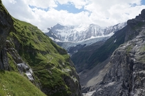 Mountain path to a glacier in Grindelwald Switzerland