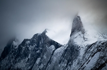 Mountain range on Senja island Norway in winter