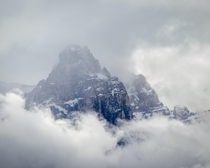 Mountain-tops breaking through the clouds Yoho National Park BC Canada