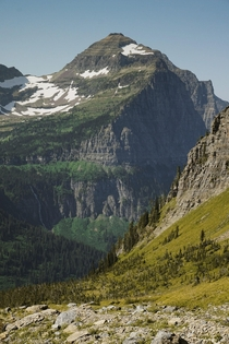 Mountain views from highline trail in Glacier National Park MT USA