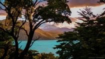 Mountains a turquoise lake in a beautiful frame of Torres del Paine Chile Patagonia