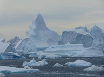 Mountains and icebergs view from Rothera Research Station Antarctic Peninsula