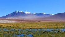 Mountains and marshland over k meters up in the Chilean Andes