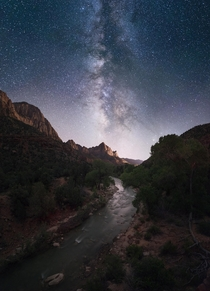 Mountains Canyon and a Creek Under the Milky Way Galaxy at Zion National Park in Utah --