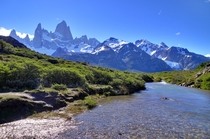 Mountains Glaciers and Rivers in Mt Fitz Roy Santa Cruz Argentina  by Martin St-Amant
