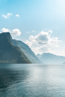 Mountains in the ocean Hjrundfjorden Norway