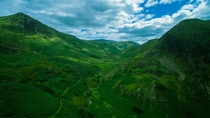 Mountains of the Lake District UK shot from a droneflying camera