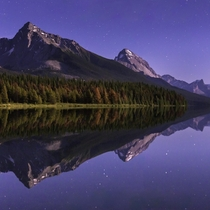 Mountains Under the Moonlight in Canada