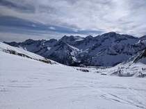 Mountainside picture while skiing Passo Tonale Italy