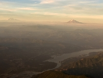 Mt Adams and Mt St Helens at sunset from the air Portland OR