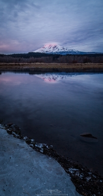 Mt Adams WA glowing pink during sunset