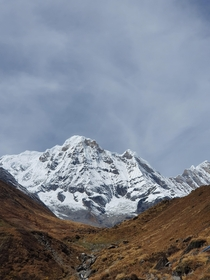 Mt Annapurna as seen from Machhapuchhre Base Camp Nepal