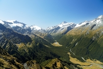 Mt Aspiring over West Matukituki Valley in New Zealand
