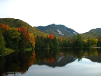 Mt Colden from Marcy Dam in Fall Adirondacks NY x