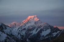 Mt Cook of New Zealand at sunset OC