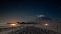 Mt Erebus in the deepest Antarctic winter  Photographed by Anthony B Powell