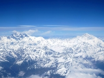 Mt Everest as viewed from the airplane window when flying from Kathmandu Nepal to Lhasa Tibet  x