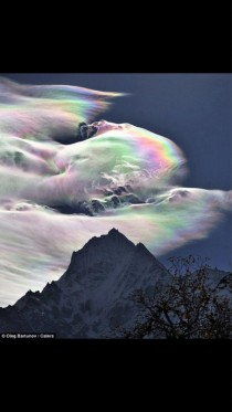 Mt Everest with an interesting rainbow