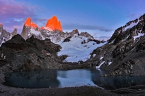 Mt Fitzroy illuminated bright red by the rising sun at Laguna de los Tres El Chalten Argentina Totally worth the freezing cold am hike up from our campsite