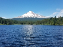 Mt Hood an ft Stratovolcano looming over Trillium Lake Oregon