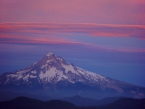 Mt Hood at sunset viewed from atop from Larch Mtn Oregon