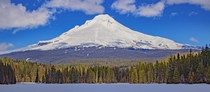 Mt Hood on a clear day Shot on top of Trillium Lake Government Camp OR