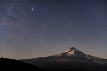 Mt Hood OR illuminated by moonlight