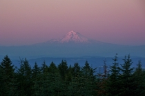 Mt Hood OR on a breezy warm evening from across the Willamette valley
