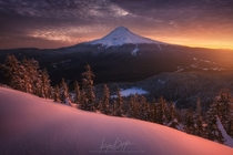 Mt Hood Oregon at sunrise  photo by Ryan Dyar