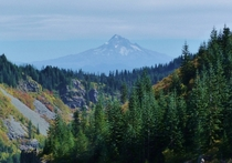 Mt Hood rises over a canyon at Silver Star Scenic Area WA USA