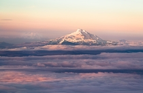 Mt Jefferson and the Three Sisters at dawn from Crater Rock Mt Hood during my summit attempt