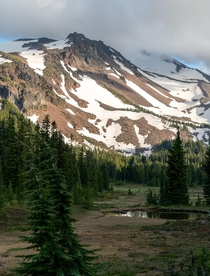 Mt Jefferson looming over the Pacific Crest Trail Oregon