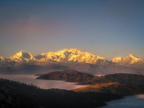 Mt Kanchenjunga at sunset seen from Singalila ridge West Bengal India