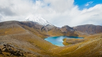 Mt Ngauruhoe and the Upper Tama crater lakes in New Zealand