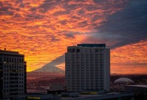 Mt Rainer Casting a Shadow above a building  x-post from rpics