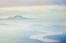 Mt Rainier and the Puget Sound from many thousand feet