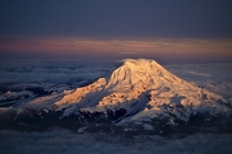 Mt Rainier at sunset from the air