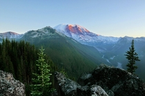 Mt Rainier at Sunset from the North Loop Trail