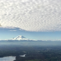Mt Rainier from under cloud blankets