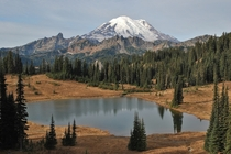 Mt Rainier rises behind Tipsoo Lake