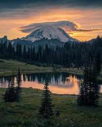Mt Rainier sunset at Tipsoo Lake Washington  IG holysht