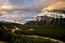 Mt Rundle and the Bow River Band National Park Alberta Canada