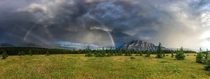 Mt Rundle Rainbow Banff National Park Canada