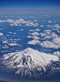 Mt Shasta California from a plane
