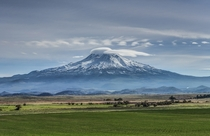 Mt Shasta in Northern California and remnants of the largest landslide of the last million years
