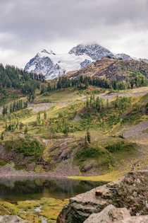 Mt Shuksan is ready for winter while the valleys are holding onto fall - Mt Baker Wilderness WA -