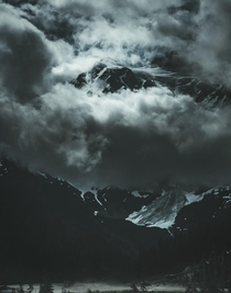 Mt Shuksan peaking through clouds Washington x OC Jbakerphoto_